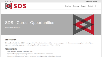 About SDS Careers page