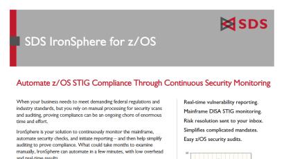 SDS IronSphere for z/OS Datasheet