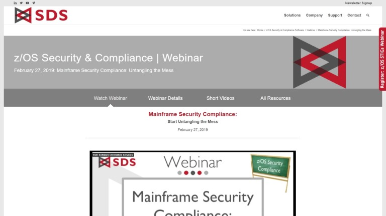 Mainframe Security Webinar page - Feb 2019