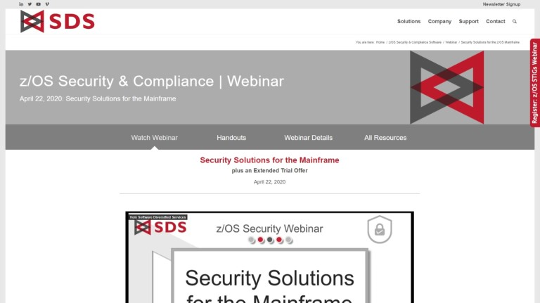 Mainframe Security Webinar page – April 2020
